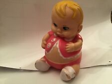 Vintage squeaky doll blonde with pink Plumpee Doll Uneeda brand 1967