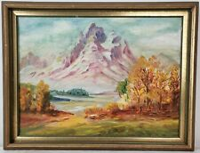 "Vintage Oil Painting on Board Mountain Landscape Framed Art Decor (14"" x 18"")"