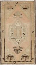 Geometric Oushak Turkish Area Rug Distressed Hand-Knotted Oriental Carpet 2x3