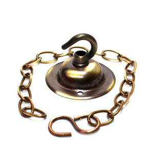 66mm Dia. Small Brushed Antique Solid Brass Hooked Ceiling Plate c/w Chain Drop