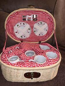 Delton Mini Ceramic Ladybug Tea Set In A Basket