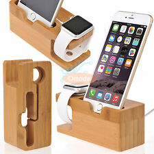 Bamboo Charging Dock Station Charger Mount Holder Stand For Apple Watch iPhone