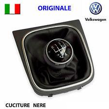 Pomello cambio cuffia pelle nero cromato VW GOLF 5 6 V VI JETTA EOS ORIGINALE