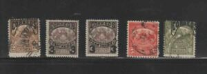 CHILE #62-67 1904 TELEGRAPH STAMPS SURCHEGED F-VF USED