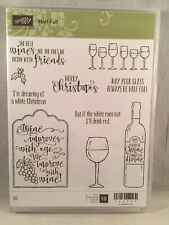 HALF FULL Stamp Set Stampin Up New Wine Christmas Friends Glass Bottle