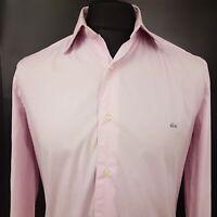 Lacoste Mens Shirt 39 (MEDIUM) Long Sleeve Pink STRETCH (Slim) Cotton Elastane
