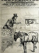 Uncle Sam Democrats v Republicans Donkey v Elephant 1887 Engraving Print Matted