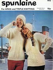 ~ Vintage 1970's Spunlaine Knitting Pattern For Adult's Aran Sweater & Hat ~