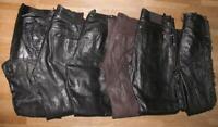 6 Herren- LEDERJEANS incl. 1 Schnür- Lederhose (n) in versch. Größen und Farben