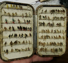 Antique Hardy Bros Tortoise Shell Plastic Fly Fishing Case & Green Red Flies