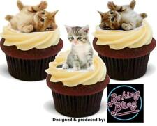 Novelty Cute Kittens Trio Mix 12 STAND UP Edible Cake Toppers Cupcake Decoration