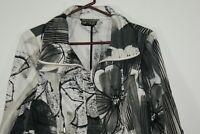 Berek Women's Size M Jacket Black And White Cotton Blend Print Zip Studded Front