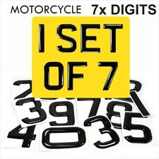 3d Gel MOTORCYCLE Bike Number Plate Domed Resin Making REG DIGITS PACK SET OF 7x