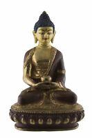 Estatua Tibetano Buda Amitabha 15cm Cobre Y Oro Nepal Buda 1472