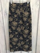 Nygard Collection Womens Size 6 Long Wrap Skirt Blue Navy Beige Flowers