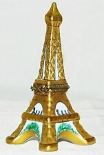 Limoges Gold Eiffel Tower Trinket Box Tourists Paris Hinged Porcelain Ceramic