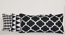 Oblong Cushion Covers Black White Rectangle Geometric Triangles Moroccan Bolster