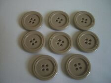 TAUPE  4 HOLE FLAT BUTTONS x 8  FREE P&P