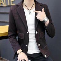 Spring Men Coats Single Breasted Lapel Slim Fit Korean Handsome Casual Blazer Sz