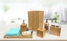 Bamboo 5 Piece Bathroom Essentials Set Bath Vanity Room Organizer Accessories