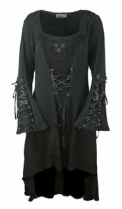 Gothic Hippie Retro D-Ringe Mini Kleid Schleppe 38 40 42 neu Candice