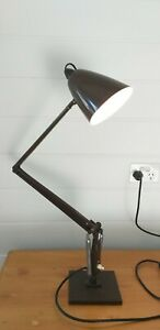 VINTAGE BROWN K MODEL HEAVY BASE PLANET DESK LAMP STUDIO INDUSTRIAL OFFICE TABLE