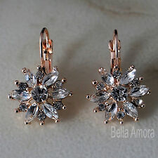 18K 18ct Rose Gold Plated Dangle Drop Flower Earrings Clear SWA Crystals -148