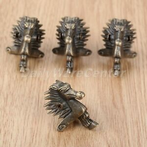 Antique Alloy Case Corner Protector Horse Head Jewelry Box Feet Leg 39*24mm 4Pcs