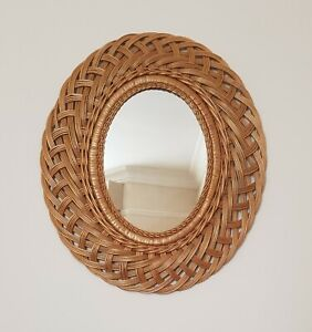 Vintage Retro Franco Albini Style Wicker Rattan Framed Wall Hanging Oval Mirror