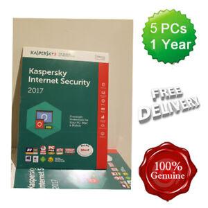 Kaspersky Internet Security 2017 - 2018 5 Users Multi device inc Antivirus UK