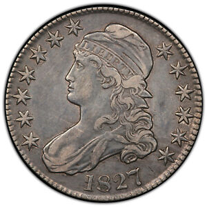 1827 Drapped Bust 50 cent piece with Square base 2