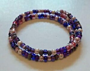 Adult Purple & Pink Faux Pearl & Glass Bead Memory Wire Bracelet