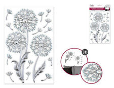 Foil Shimmer Embossed DANDELIONS 16 wall stickers 3-D decals decor silver
