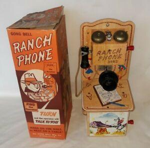 VINTAGE GONG BELL RANCH PHONE COWBOY W/ ORIGINAL BOX TALKS $79.99