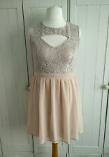 Nude / Peach Lace Cut Out Dress Size 14
