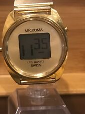 Vintage Microma M.D. 004-Y Swiss Made Digital Watch.  New Battery