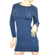 Robe BLEU femme manches longue laine tricot chandails pullover made en Italy G65