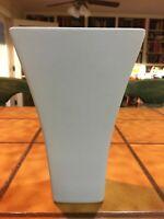 "Vintage Mid Century Pottery Ceramic Square Blue Vase 7.5"" tall"