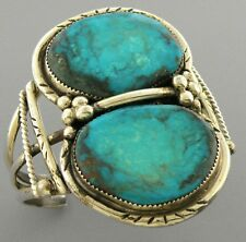 Turquoise Cuff Bangle Bracelet Large Vintage Beautiful Navajo Sterling Silver