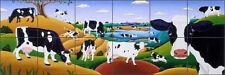 "Ceramic Tile Mural Kitchen Backsplash del Rio Cows Animals 25.5""x8.5"" POV-RR016"