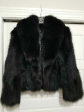 Tres Chic Furs Luxurious Black Short Fox Fur Bomber Coat Medium $1995