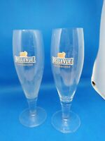 Belle-Vue Beer Flutes. Pair. Half Pints