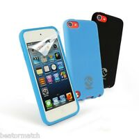 Tuff-Luv iPod Touch 5th Gen Silicone Gel Case X2 & Screen Protector Black Blue