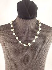 """15"""" Sterling Silver Light Green Freshwater Pearl & Crystal Beaded Necklace"""