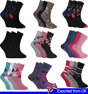 Ladies Diabetic Socks Non Elastic Cotton Rich Luxury 3 6 12 Pairs Size 4 to 8