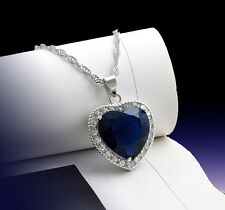 "Sterling Silver Rose Heart Spade Sapphire Crystal Pendant 18"" Silver Chain Gift"