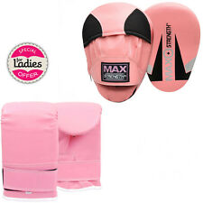 MAXSTRENGTH Pink Ladies Focus Pads Set Hook and Jab Punch Training Bag Gloves