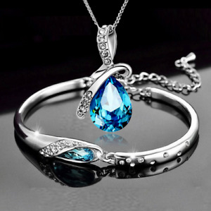 Collana Donna Bracciale Argento Cristal PER Swarovski E. Parure Blu Coppia Regal