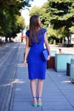 New ZARA Woman blue pencil tube dress Size L 40