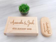Wood USB Wedding Keepsake 8-32GB USB Personalized USB Flash Drive Wedding Gift